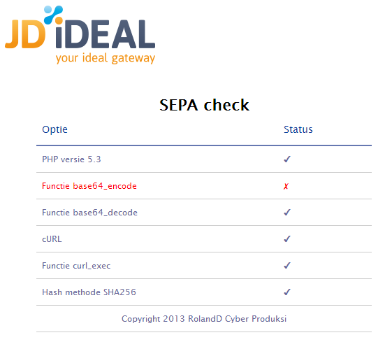 JD iDEAL SEPA check